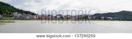 A panorama of the city of Pokhara Nepal.