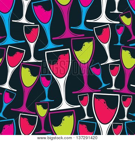 Winery theme seamless vector pattern decorative stylish wine goblets.