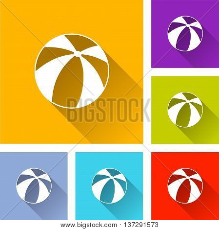 illustration of beach ball flat icons set