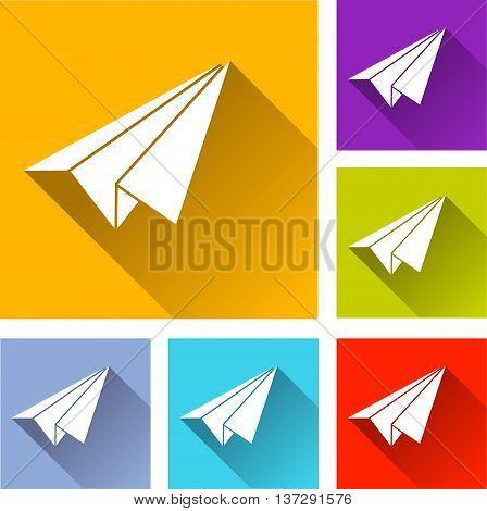 illustration of paper plane flat icons set