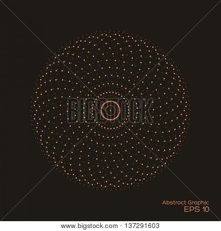 Abstract dotty symmetrical pattern brown color on black background. Vector of halftone design element. Vector illustration.