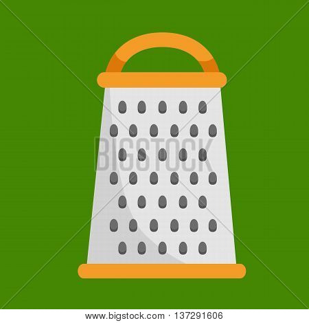 isolated metallic grater kitchen tool icon, cooking food equipment background, handle steel kitchenware vector illustration on green