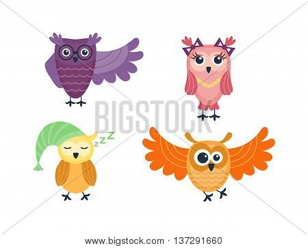 Cute vector funny cartoon owls. Animal character cartoon owl comic funny collection. Doodle cheerful bird cartoon owl. Adorable different owl various expression bird