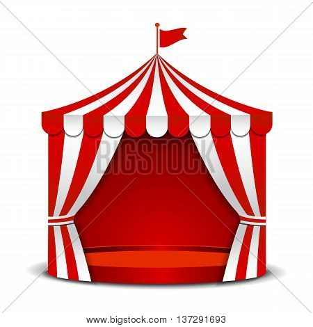 Circus red tent isolated on white background.