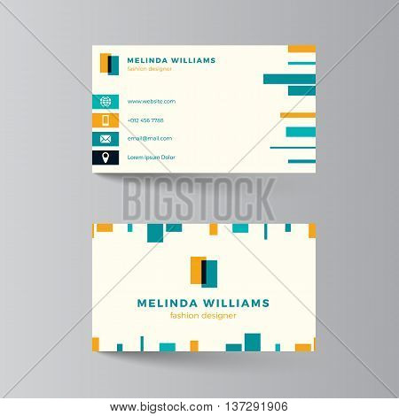 Business card layout. Vector illustration. Turquoise and yellow template. Clean modern business card design with colorful lines