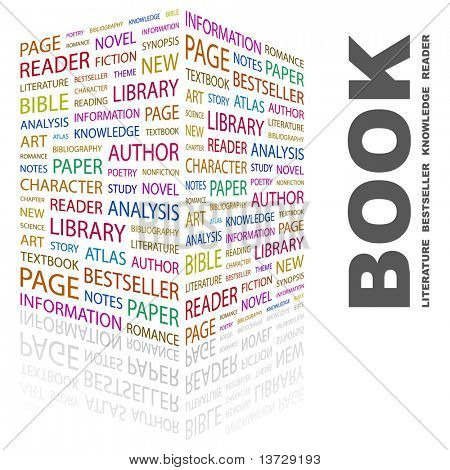 BOOK. Word collage on white background. Illustration with different association terms.