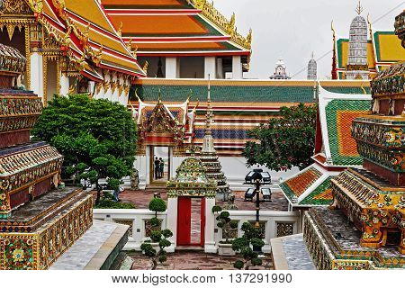 Bangkok Thailand - March 22 2011: The temple of Wat Pho is one of the largest and oldest (1781 A.D) temples in Bangkok. It's an important point of interest in Bangkok and very sacred in thai culture