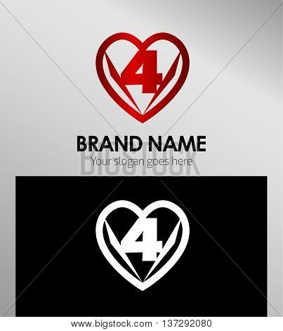 Vector sign spherical number 4 template design vector