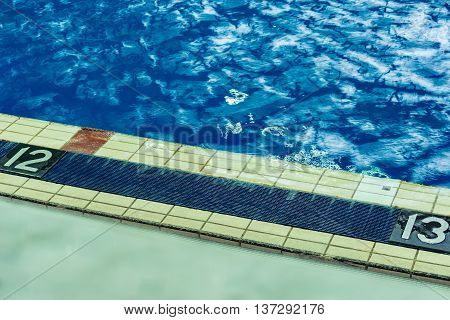 Numbers of pool lanes by the waters edge.