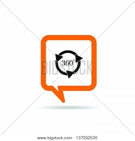 Square Orange Speech Bubble With Circle 360 Icon Illustration