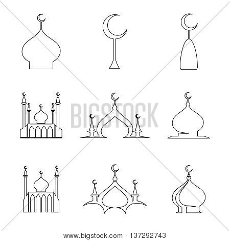 Set of line arabic islamic dome of mosque icons. Vector illustration