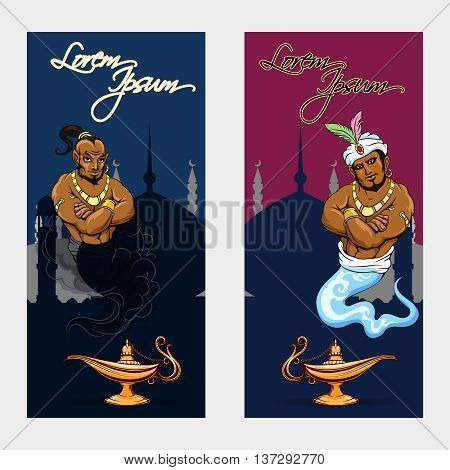Set of oriental tale banners with genie lamp and mosque. Vector illustration