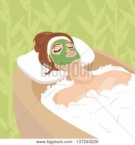 woman with mask on her face relaxes ,vector illustration