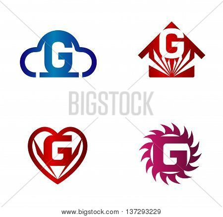 Design vector logo template. G letters icon set