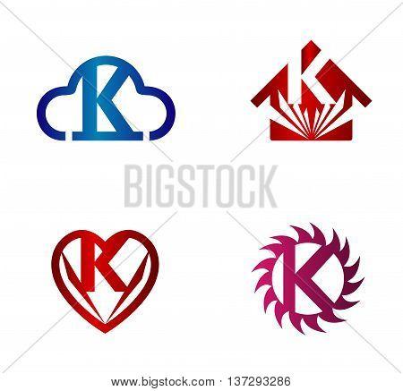 Design vector logo template. K letters icon set