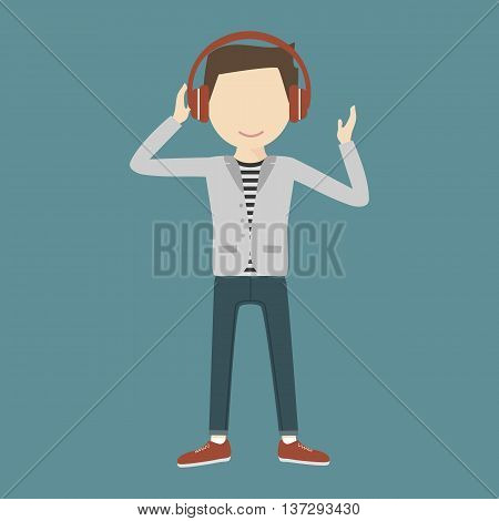 Young man smiling listening music through headphones on his head. Cool sound concept. Vector illustration flat design
