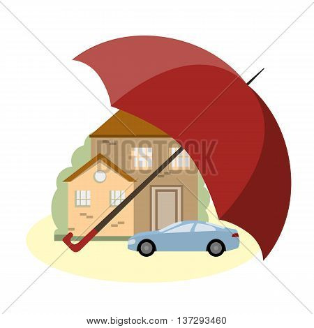 A house and a car under the protection of the umbrella. The concept of insurance and security of property. Vector illustration flat design
