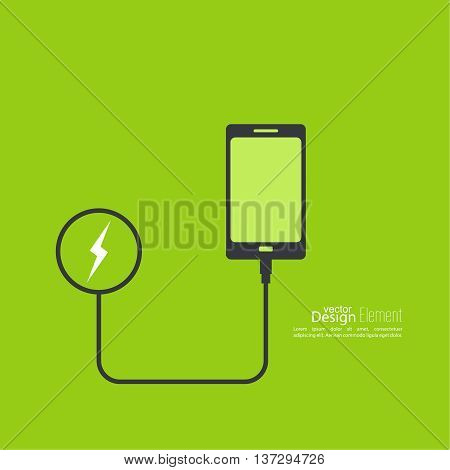 Abstract background with charge mobile phones. usb cable is connected to the smartphone. The concept  power charging. Vector.