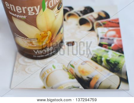Irkutsk Russia - Sept 17 2015: Dry balanced coctail - energy diet complex. NLInternational goods