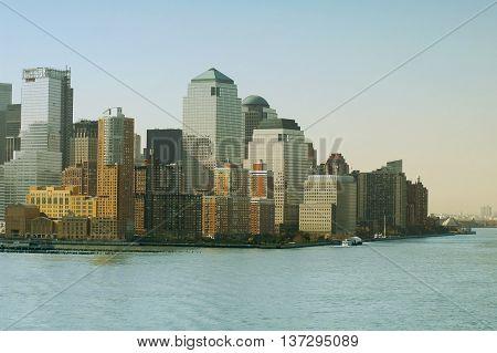 New York skyline. New York City with Manhattan Skyline over Hudson River.