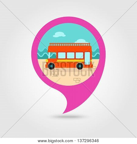 Double decker open top sightseeing and city bus vector pin map icon. Map pointer. Summer Map markers. Summertime. Vacation eps 10