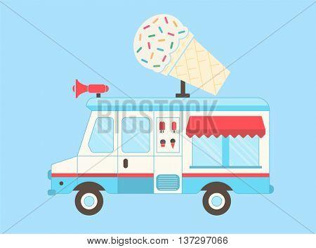 Ice Cream Truck. Vector layered