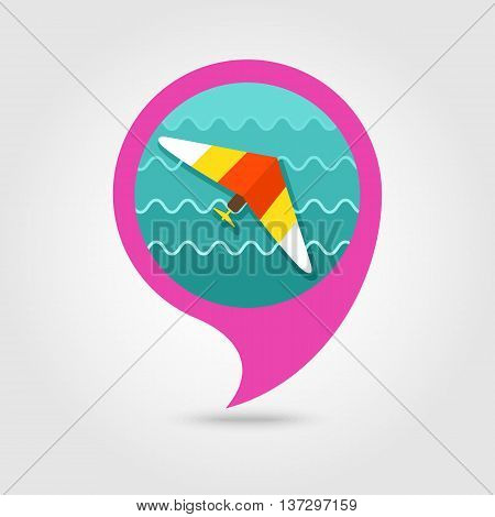 Hang Glider vector pin map icon. Travel Map pointer. Summer Map markers. Summertime. Vacation eps 10