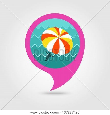 Parasailing. Summer kiting activity vector pin map icon. Beach Map pointer. Summer Map markers. Summertime. Vacation eps 10