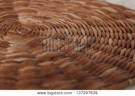 Wicker brown texture of mat. Details. Stock photo