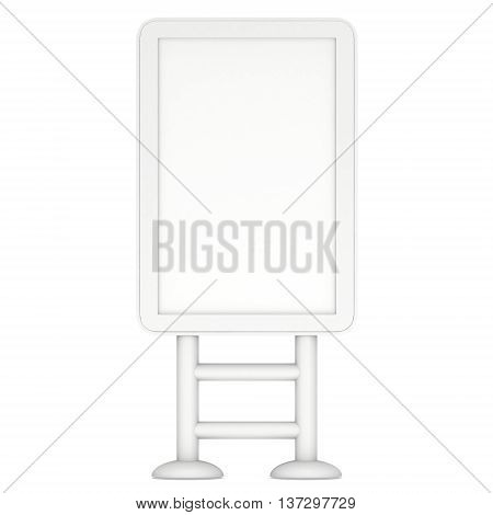 LCD TV Stand. Blank Trade Show Booth. 3d render of lcd tv isolated on white background.