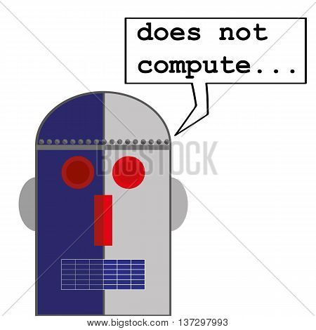 Robot head in a retro style with a speech bubble that says Does Not Compute as a metaphor for computer malfunctions or problems