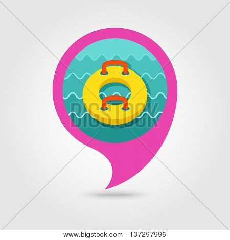 Towable Water Tube Inflatble Boat Floating Raft vector pin map icon. Beach Map pointer. Summer Map markers. Summertime. Vacation ride water sport eps 10