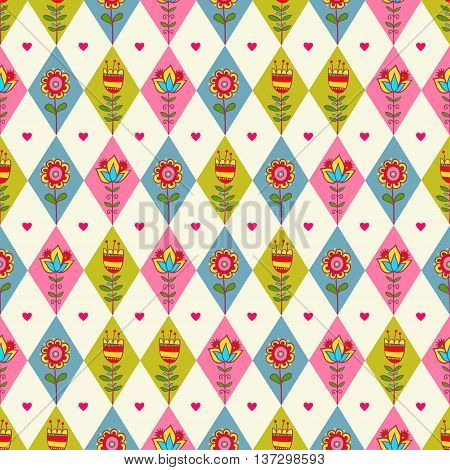 Cute seamless floral pattern with rhombus. Rhombus seamless pattern.