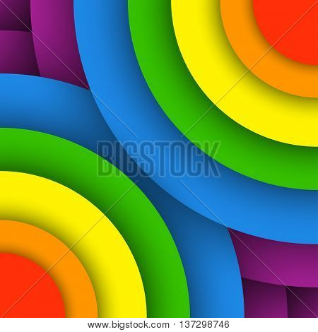 Modern colorful background. Vector illustration in LGBT flag colors. Symbol of peace gay culture. Rainbow template paper layers. Gay Pride month.