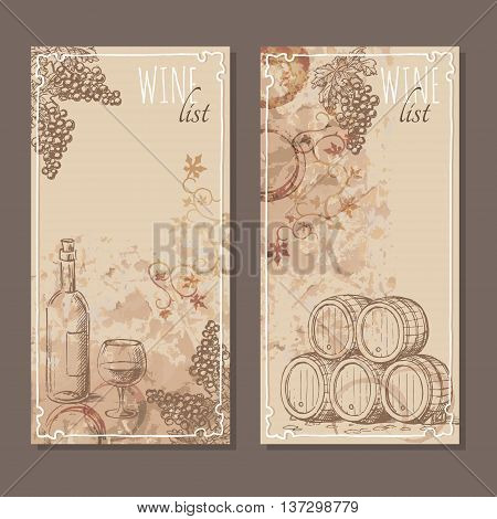 Wine list cards. Menu cards for wine collections with hand drawn sketches. Bunch of grapes barrel and a bottle with glass of wine sketch. Vector illustration.
