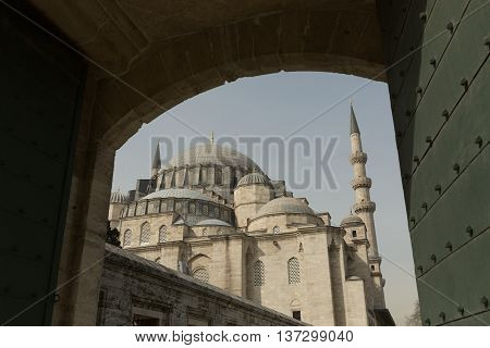 view of the 17th century Sultan Ahmet (Blue) mosque through the doorway, Istanbul, Turkey