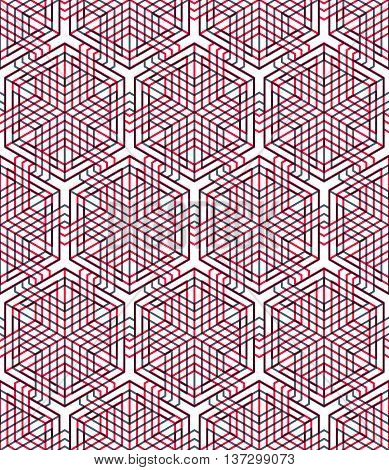 Endless colorful symmetric pattern graphic design. Geometric intertwine optical composition