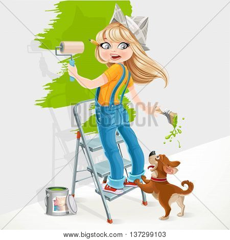 Cute Girl Standing On A Stepladder With A Paint Roller And Frightened Dog Playful Isolated On White