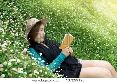 Woman Lay Down Flower Garden
