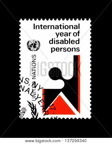 UNITED NATIONS - CIRCA 1981 : Cancelled postage stamp printed by United Nations, that promotes International year of the disabled persons.