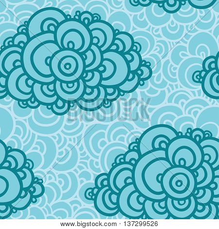 Seamless abstract hand-drawn pattern clouds background. Vector illustration.