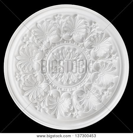 Ceiling Centres or plaster Ceiling Roses isolated on black