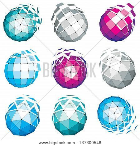 Set of abstract 3d faceted figures with connected lines. Vector low poly design elements collection scientific concept. Cybernetic orb shapes with grid and lines mesh network structure.