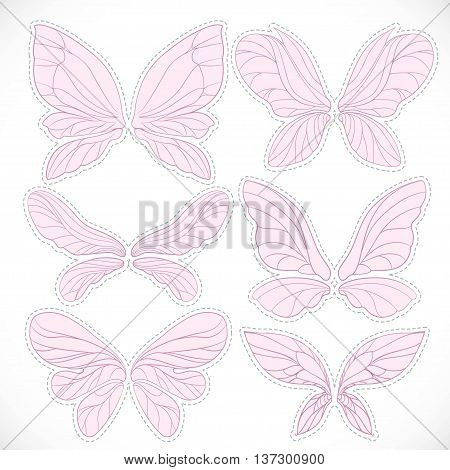 Pink fairy wings with dotted outline for cutting set isolated on a white background