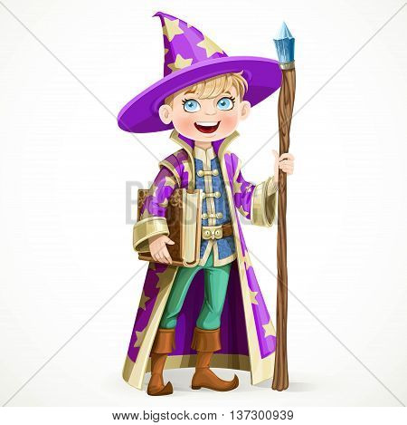 Cute boy dressed as a Wizard with the book and a magic staff isolated on white background