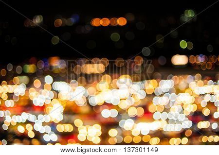 Abstract Background Of Blurred Blue Lights With Bokeh Effect