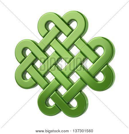 3D Illustration Of Green Eternal Knot Icon