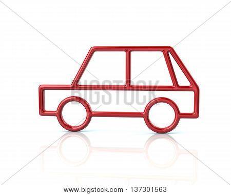 3D Illustration Of Red Hatchback Car Icon