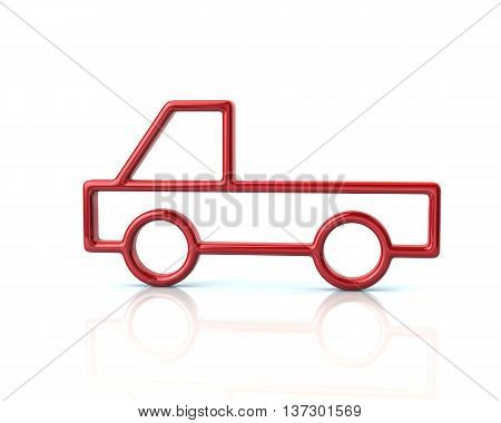 3D Illustration Of Red  Pickup Car Icon