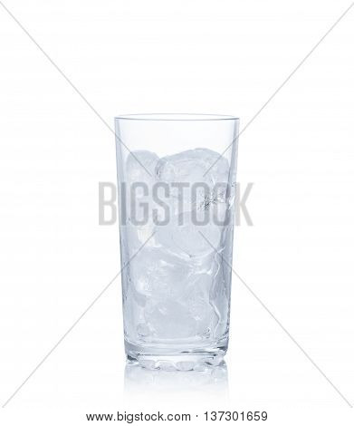 Glass with ice isolated on white background.